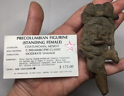 Pre-Columbian Figurine Female ANCIENT Terracotta Artifact Pottery Royal Effigy
