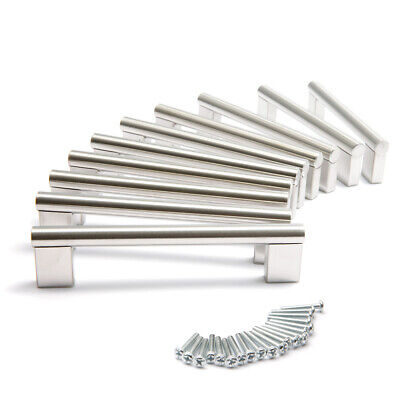 Set of 10x 192mm Boss Bar Handles Brushed Stainless Steel Cabinet Cupboard
