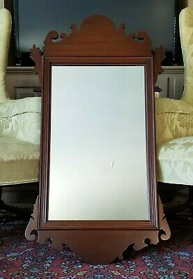 "LARGE MAHOGANY ""CHIPPENDALE WALL"" MIRROR BIGGS FURNITURE (KITTINGER) 41"" x 22"""