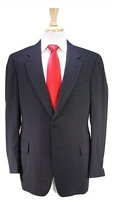 PAUL STUART Charcoal Black Chalkstripe 2-Btn Wool Handmade Suit 40R