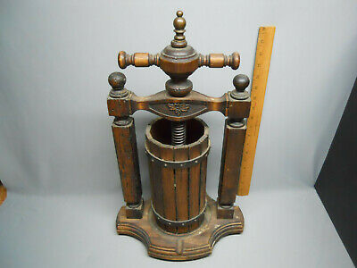 Antique 19th Century French Wooden Cast Iron Wine Fruit Press