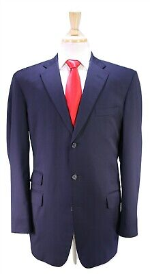 EXECUTIVE COLLECTION by Tom James Solid Navy Blue Handmade 3-Btn Wool Suit 42L