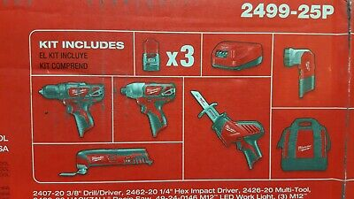 Milwaukee M12 Lithium-Ion Cordless (5-Tool) Combo Kit with (3) Batteries