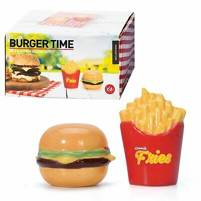 BURGER TIME - Quirky Novelty BBQ Picnic Burger Fries Salt & Pepper Shakers **NEW
