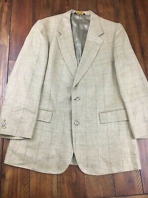 Brooks Brothers Tan Checks Linen Mens 2 Button Designer Blazer 43R