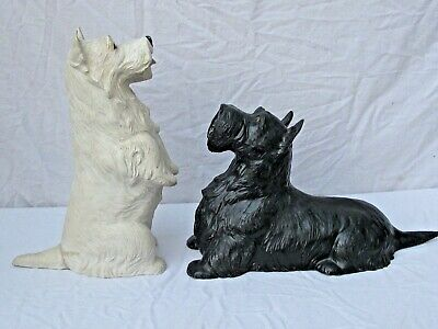 Antique Black & White Scotch Whisky Scottie  Display Dogs  1941 Large