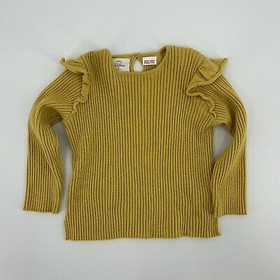 Zara Toddler Girls Ruffle Ribbed Sweater Knit Top Size 2/3 Mustard Yellow