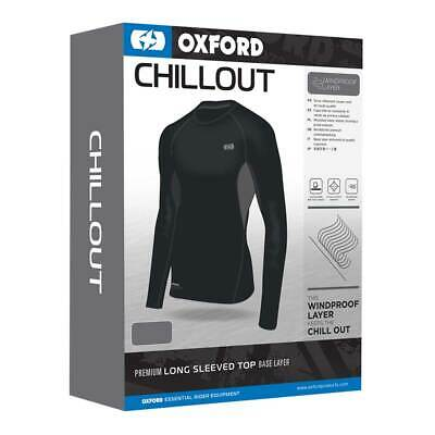 Oxford Chillout Black Motorbike Motorcycle Windproof Base Layer Top | All Sizes