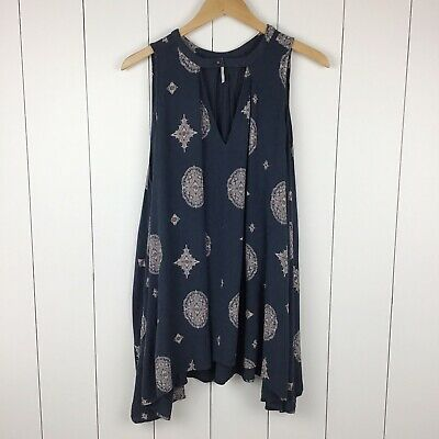 Free People S Tank Dress Trapeze Cut Out Halter Neck Navy Blue Pale Pink