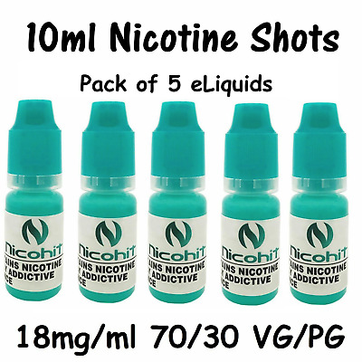 5 x Pack 100% VG Premium 70 / 30 eLiquid Nicohit Nicotine Shot 10ml-18mg/ml eCig