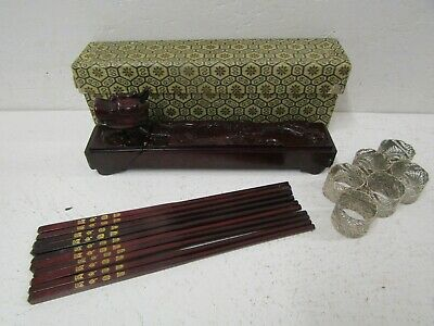 Hand Carved Chinese Wooden Chopsticks (x 10) in Dragon Design Case
