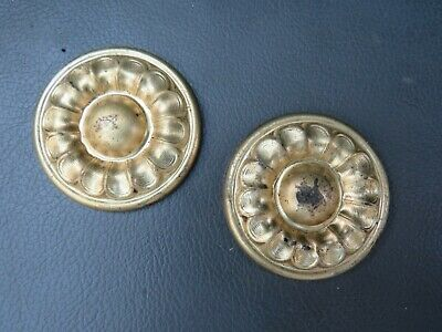Pair of pressed brass longcase grandfather clock roundels - new old stock