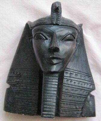"Antique Egyptian Head of King Tutankhamen Plaster Sculpture 6 1/4""HX5 1/4""WX3"" D"