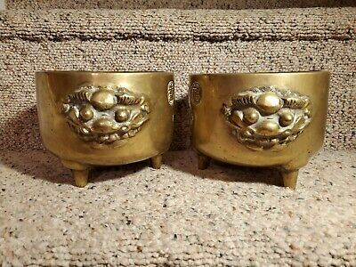 2 Antique Chinese Ming Markings Brass Footed Heavy Incense Burner with Dragons