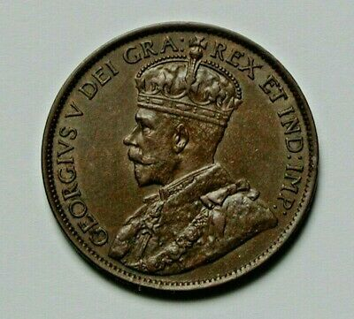 1913 CANADA George V Coin - Large Cent (1¢) - AU+ toned