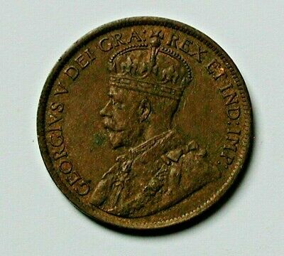 1919 CANADA George V Coin - Large Cent (1¢) - brown