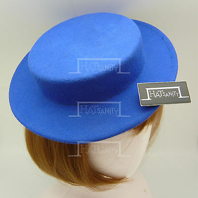 CLASSIC Wool Felt Women Mini Boater Top Hat Ladies Panama Fascinator NEW | Blue