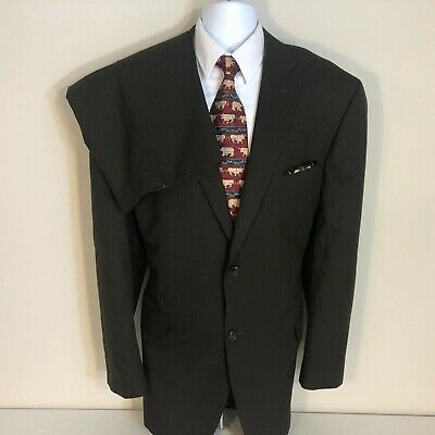 Haggar 2 piece Espresso brown herringbone Suit Men Size 46L flat pant 38x30 2B2V