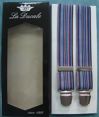 Bretelle BRETELLA uomo LA DUCALE cm.120 made in Italy 4 CLIPS colore - TURCHESE
