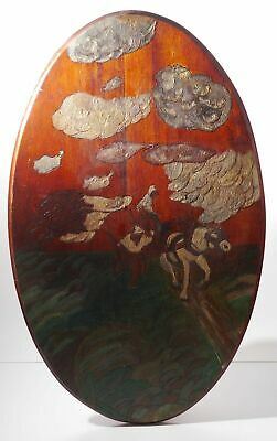 Antique Carved Wooden Oval Handmade and Painted Plaque Field Sky Horse Working
