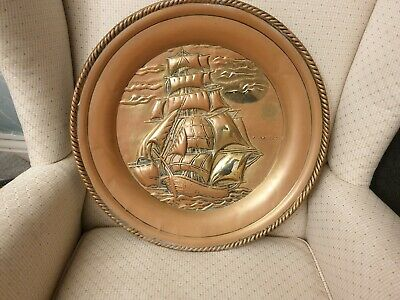 Antique copper wall plaque depicting 'The Flying Cloud' Famous Clipper Ship