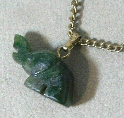 Carved Nephrite Jade stone Elephant Pendant gold Chain Necklace 2b 39