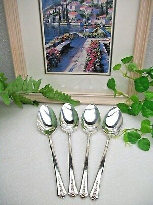 4  International Holmes /& Edwards  SPRING GARDEN  Silverplate Place Soup Spoons
