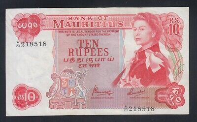 Mauritius note P31c-8518 10 Rupees Sig 4 Pfx A/23, QE II, Strong VF  We Combine