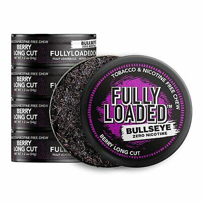 Fully Loaded Chew Tobacco and Nicotine Free Berry Bullseye Long Cut Popping F...