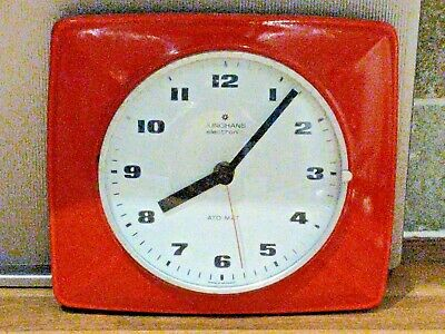 Vintage Retro 1960's Junghans Electronic Ato-Mat Red Porcelain Wall Clock