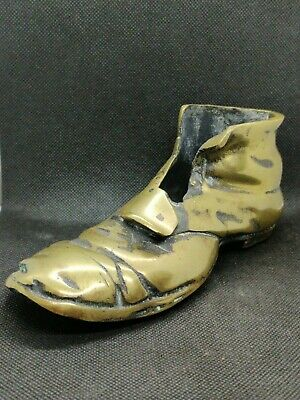 Antique Solid Cast Brass Large Detailed Old Boot