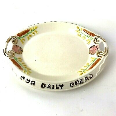Vtg Arner's Ceramic Give Us This Day Our Daily Bread Dish Platter gold trim
