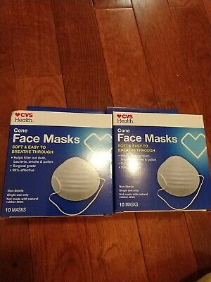 CVS Cone Face Mask For 99% Flu Bacteria 20 Pack Surgical Grade FAST SHIP