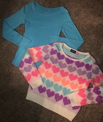 Youth Girls Size 14 Justice Long Sleeved Top & Children's Place Sweater