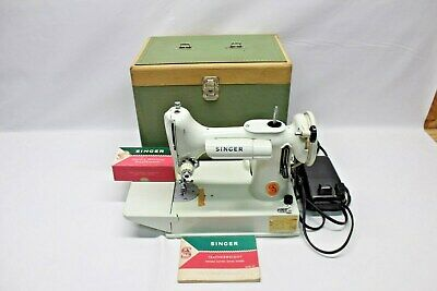 Vintage 1960's White Singer Featherweight Model 221K Sewing Machine & Case