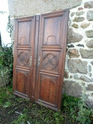Pair Of French Antique Carved  Fruitwood Provincial Doors 18Th Century