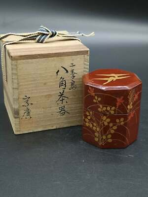 Japanese TEA CADDY Wood Chaire Container Tea Ceremony With box signed