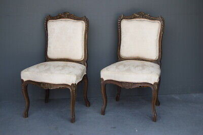 Pair French Louis XV antique carved rococo chairs gilt large comfortable seats