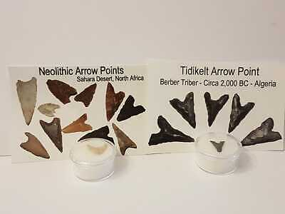 Collection of Neolithic and Tidikelt arrow heads. Prehistoric manmade tools F1+2
