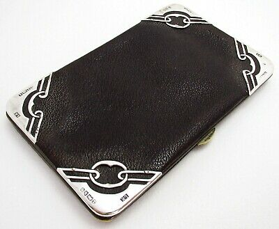 Rare Arts & Crafts Antique Sterling Silver, Leather Wallet Purse Card Stamp Case