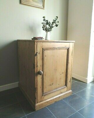 Lovely Large Antique Solid Pine Victorian Pot Larder Cupboard *Rustic*
