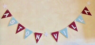 HAPPY BIRTHDAY BANNER ASTON VILLA FOOTBALL COLOURS PARTY BUNTING CLARET AND BLUE