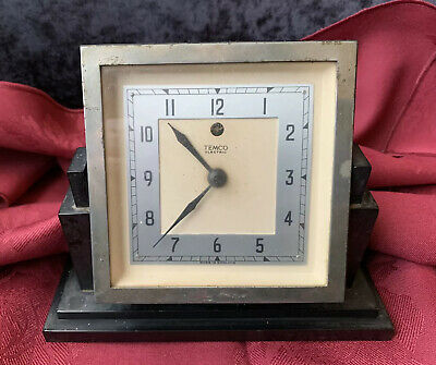 Art Deco Black Bakelite Temco Electric Clock - For Repair