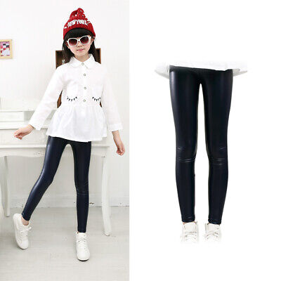Autumn Winter Baby Girl Kid Stretchy Faux Leather Skinny Pants Leggings Trousers
