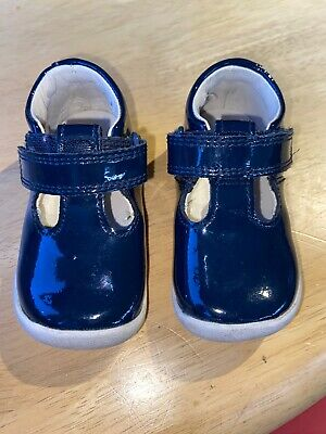 Baby Girls Navy Blue Clarks Shoes Size 3F