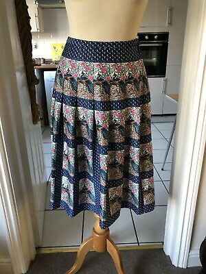 Vintage Hyphen Peacock Print Pleated Skirt 8/10