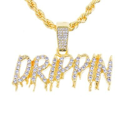 Hip Hop Gold Tone Iced DRIPPIN Pendant 24 in Rope Chain Necklace HC 1433 G