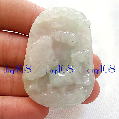 Certified 100% Natural A Jade Jadeite Twelve zodiac Amulet Dog Pendant JD30