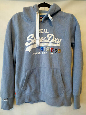Youth SUPERDRY Cotton Blend light Blue Hoodie Sweater regular fit Size 14 L