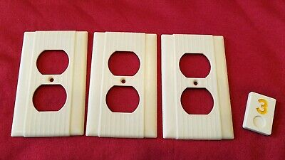 3 Vtg Hubbell Deco Single Gang Outlet Wall Plate Cover Ribbed Bakelite - Y3
